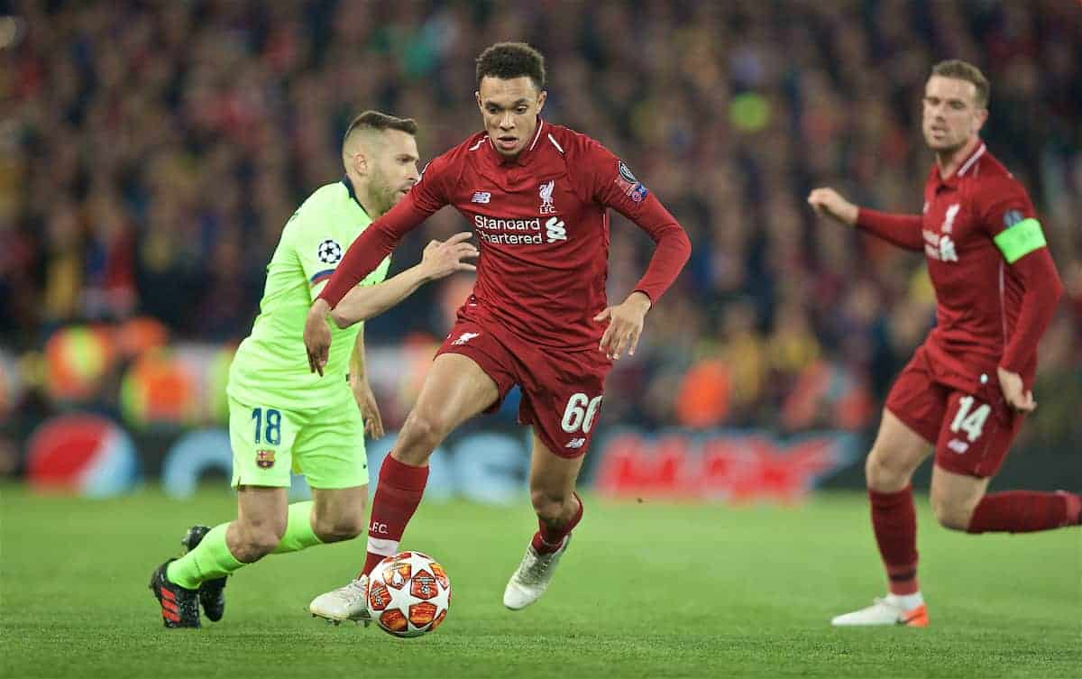 Liverpool's Trent Alexander-Arnold during the UEFA Champions League Semi-Final 2nd Leg match between Liverpool FC and FC Barcelona at Anfield. (Pic by David Rawcliffe/Propaganda)