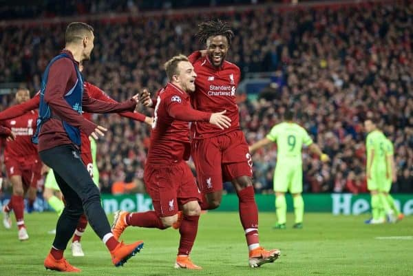 LIVERPOOL, ENGLAND - Tuesday, May 7, 2019: Liverpool's Divock Origi celebrates scoring the fourth goal with team-mate Xherdan Shaqiri during the UEFA Champions League Semi-Final 2nd Leg match between Liverpool FC and FC Barcelona at Anfield. (Pic by David Rawcliffe/Propaganda)