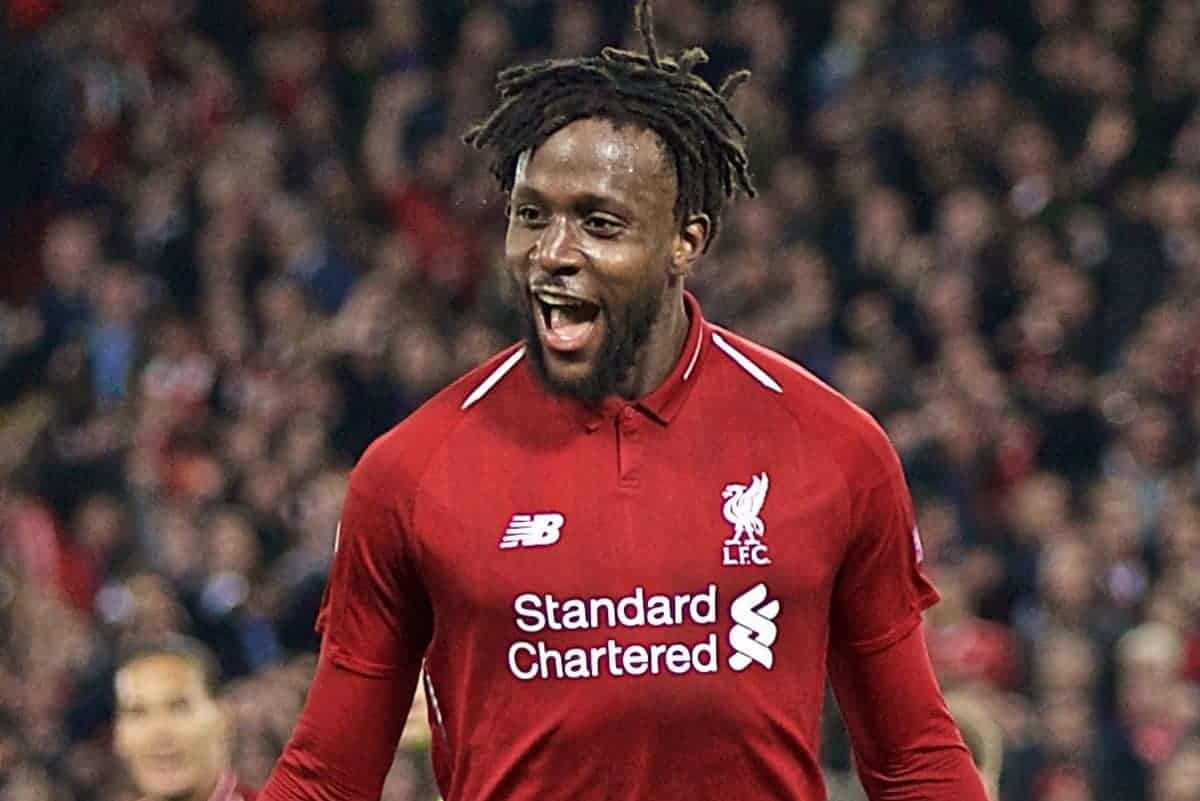LIVERPOOL, ENGLAND - Tuesday, May 7, 2019: Liverpool's Divock Origi celebrates scoring the fourth goal during the UEFA Champions League Semi-Final 2nd Leg match between Liverpool FC and FC Barcelona at Anfield. (Pic by David Rawcliffe/Propaganda)