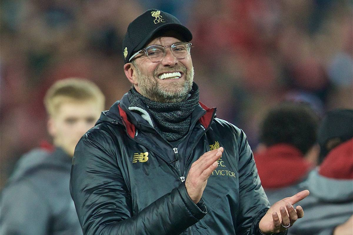 LIVERPOOL, ENGLAND - Tuesday, May 7, 2019: Liverpool's manager Jürgen Klopp celebrates after the UEFA Champions League Semi-Final 2nd Leg match between Liverpool FC and FC Barcelona at Anfield. Liverpool won 4-0 (4-3 on aggregate). (Pic by David Rawcliffe/Propaganda)