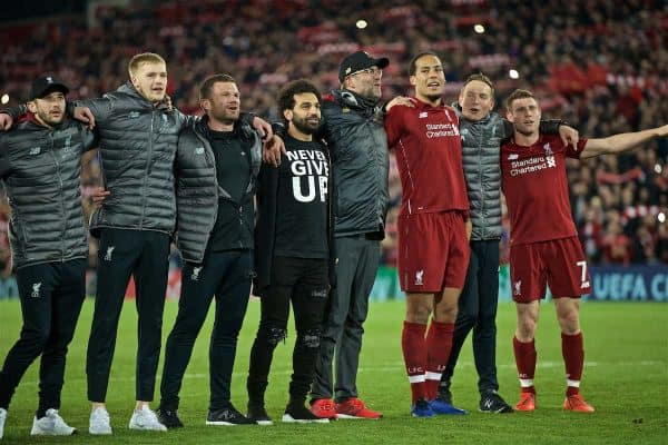 LIVERPOOL, ENGLAND - Tuesday, May 7, 2019: Liverpool players celebrate after the UEFA Champions League Semi-Final 2nd Leg match between Liverpool FC and FC Barcelona at Anfield. Liverpool won 4-0 (4-3 on aggregate). Mohamed Salah, manager Jürgen Klopp, Virgil van Dijk, James Milner. (Pic by David Rawcliffe/Propaganda)
