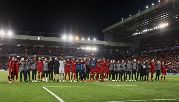 Liverpool players and staff celebrate after the UEFA Champions League Semi-Final 2nd Leg match between Liverpool FC and FC Barcelona at Anfield. Liverpool won 4-0 (4-3 on aggregate). (Pic by David Rawcliffe/Propaganda)