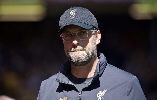 LIVERPOOL, ENGLAND - Sunday, May 12, 2019: Liverpool's manager Jürgen Klopp before v the final FA Premier League match of the season between Liverpool FC and Wolverhampton Wanderers FC at Anfield. (Pic by David Rawcliffe/Propaganda)