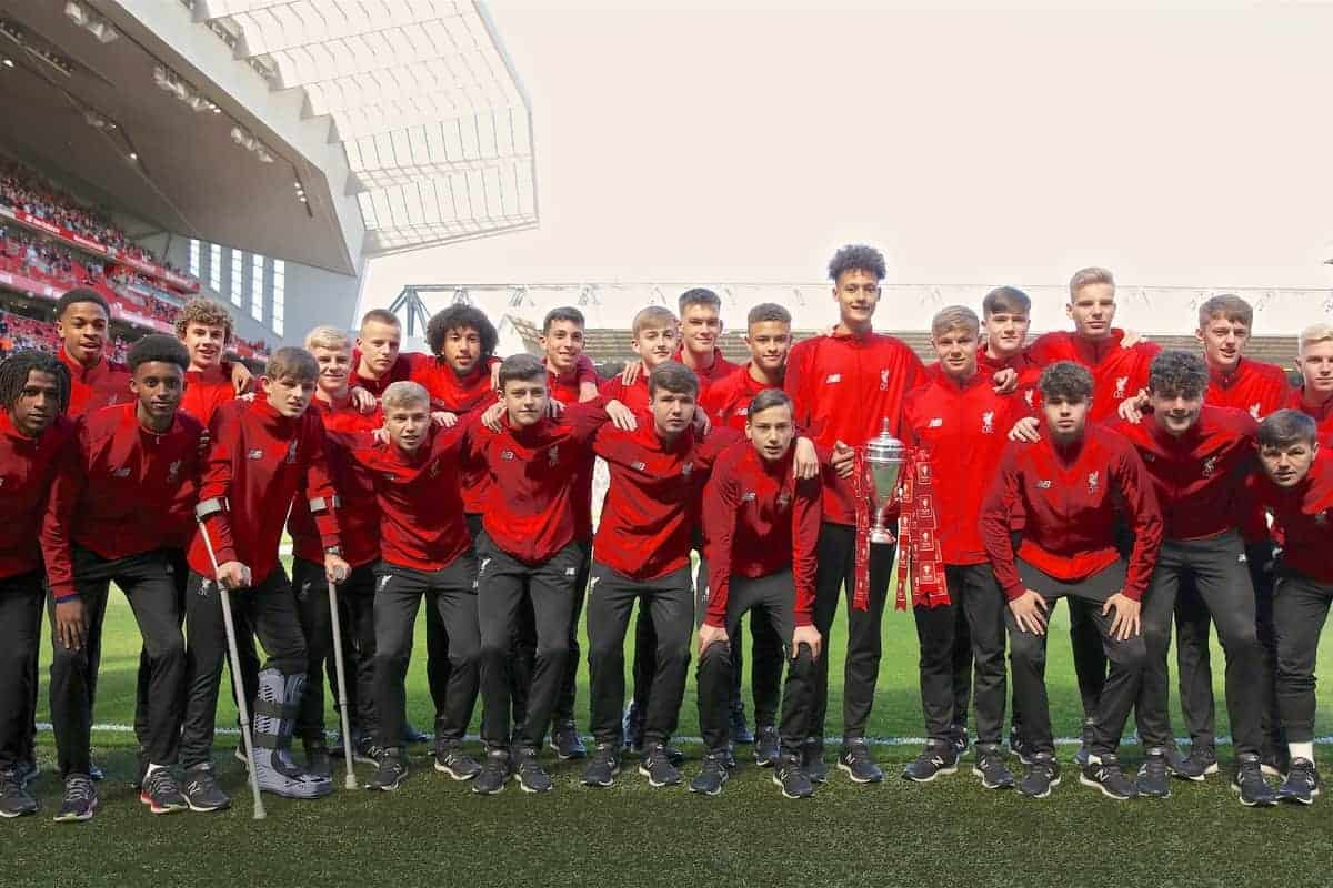 LIVERPOOL, ENGLAND - Sunday, May 12, 2019: Liverpool's victorious FA Youth Cup winning squad pose for a team photograph with Rhys Taylor (L) and captain Paul Glatzel (R) holding the trophy during the final FA Premier League match of the season between Liverpool FC and Wolverhampton Wanderers FC at Anfield. (Pic by David Rawcliffe/Propaganda)
