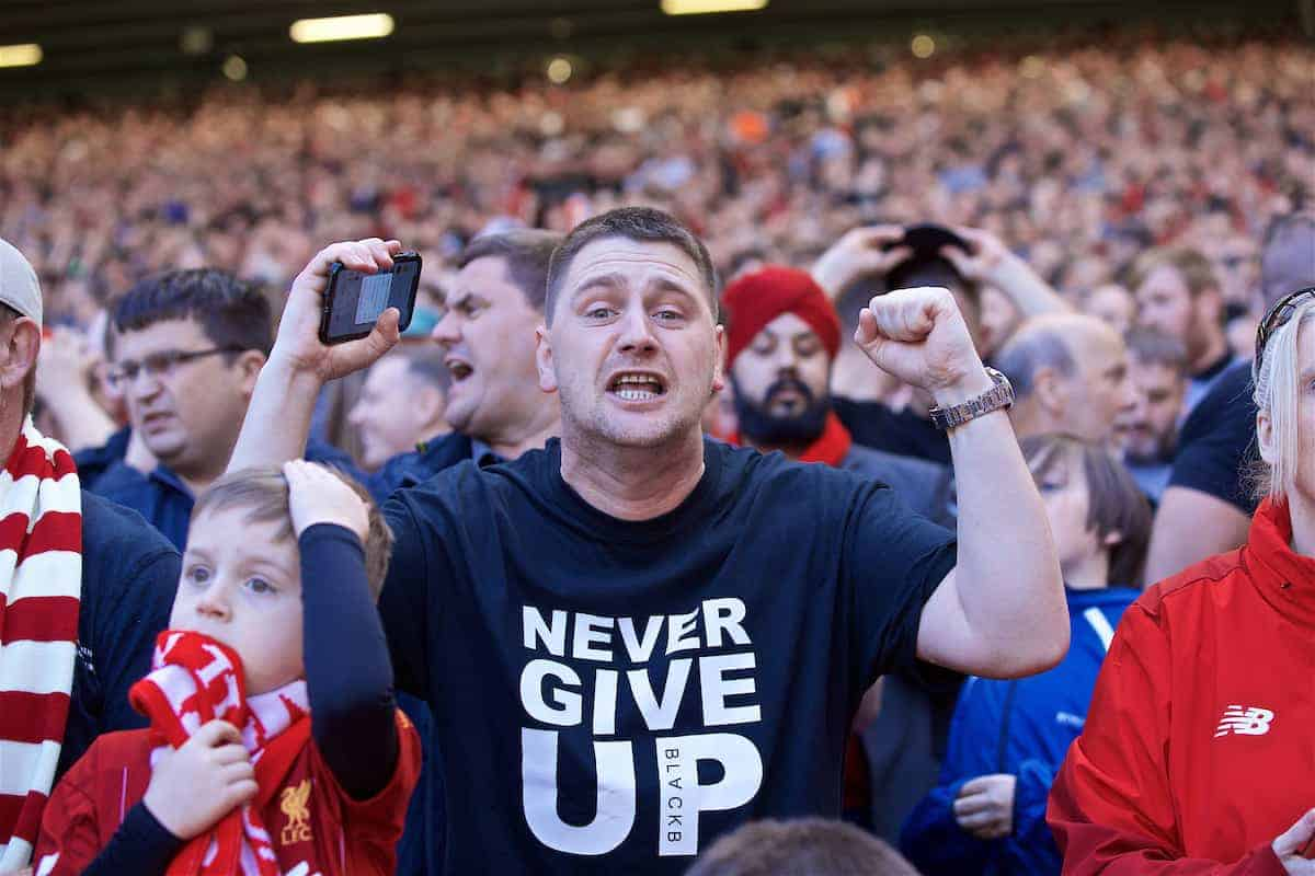 LIVERPOOL, ENGLAND - Sunday, May 12, 2019: A Liverpool cheers his side on during the final FA Premier League match of the season between Liverpool FC and Wolverhampton Wanderers FC at Anfield. (Pic by David Rawcliffe/Propaganda)