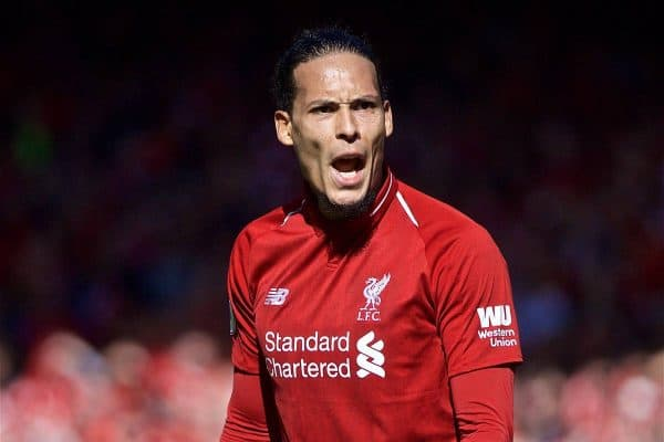 LIVERPOOL, ENGLAND - Sunday, May 12, 2019: Liverpool's Virgil van Dijk during the final FA Premier League match of the season between Liverpool FC and Wolverhampton Wanderers FC at Anfield. (Pic by David Rawcliffe/Propaganda)