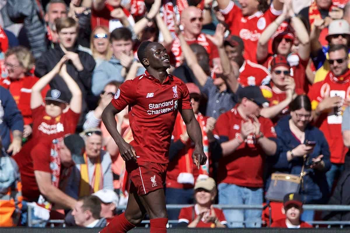 LIVERPOOL, ENGLAND - Sunday, May 12, 2019: Liverpool's Sadio Mane celebrates scoring the second goal during the final FA Premier League match of the season between Liverpool FC and Wolverhampton Wanderers FC at Anfield. (Pic by David Rawcliffe/Propaganda)