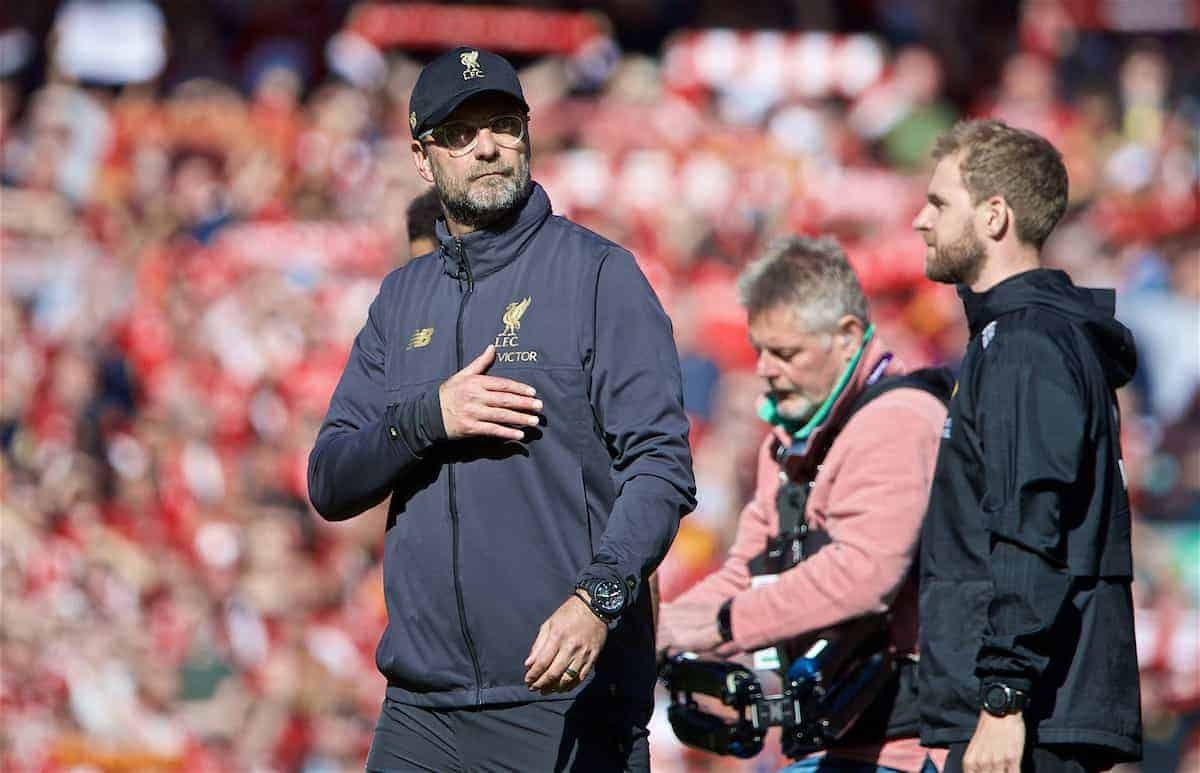 LIVERPOOL, ENGLAND - Sunday, May 12, 2019: Liverpool's manager Jürgen Klopp after the final FA Premier League match of the season between Liverpool FC and Wolverhampton Wanderers FC at Anfield. (Pic by David Rawcliffe/Propaganda)