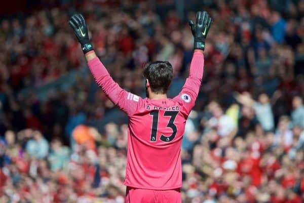 LIVERPOOL, ENGLAND - Sunday, May 12, 2019: Liverpool's goalkeeper Alisson Becker during the final FA Premier League match of the season between Liverpool FC and Wolverhampton Wanderers FC at Anfield. (Pic by David Rawcliffe/Propaganda)