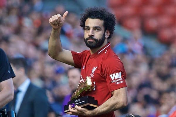 LIVERPOOL, ENGLAND - Sunday, May 12, 2019: Liverpool's Mohamed Salah with the golden boot for being joint top scorer for Liverpool after the final FA Premier League match of the season between Liverpool FC and Wolverhampton Wanderers FC at Anfield. (Pic by David Rawcliffe/Propaganda)