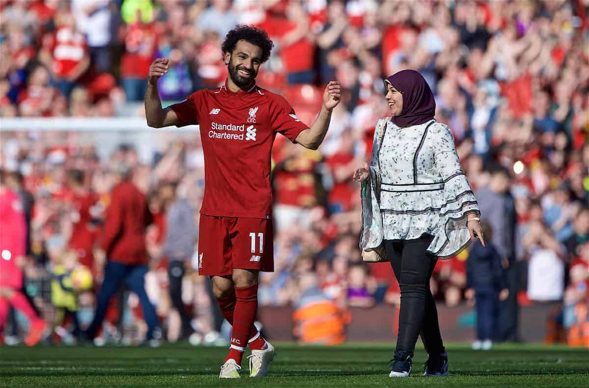 LIVERPOOL, ENGLAND - Sunday, May 12, 2019: Liverpool's Mohamed Salah after the final FA Premier League match of the season between Liverpool FC and Wolverhampton Wanderers FC at Anfield. (Pic by David Rawcliffe/Propaganda)