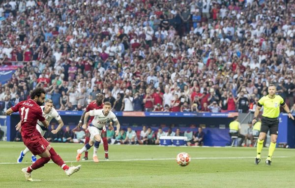 MADRID, SPAIN - SATURDAY, JUNE 1, 2019: Liverpool's Mohamed Salah scores his sides first goal from the penalty spot to make the score 0-1 during the UEFA Champions League Final match between Tottenham Hotspur FC and Liverpool FC at the Estadio Metropolitano. (Pic by Paul Greenwood/Propaganda)