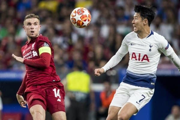MADRID, SPAIN - SATURDAY, JUNE 1, 2019: Liverpool's captain Jordan Henderson and Tottenham Hotspur's Son Heung-Min during the UEFA Champions League Final match between Tottenham Hotspur FC and Liverpool FC at the Estadio Metropolitano. (Pic by Paul Greenwood/Propaganda)