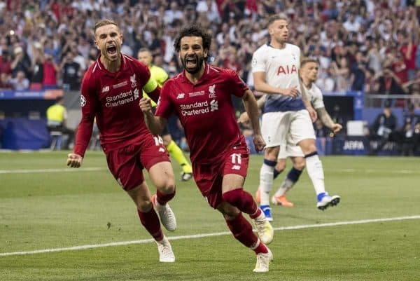 MADRID, SPAIN - SATURDAY, JUNE 1, 2019: Liverpool's Mohamed Salah celebrates scoring his sides first goal from the penalty spot to make the score 0-1 during the UEFA Champions League Final match between Tottenham Hotspur FC and Liverpool FC at the Estadio Metropolitano. (Pic by Paul Greenwood/Propaganda)