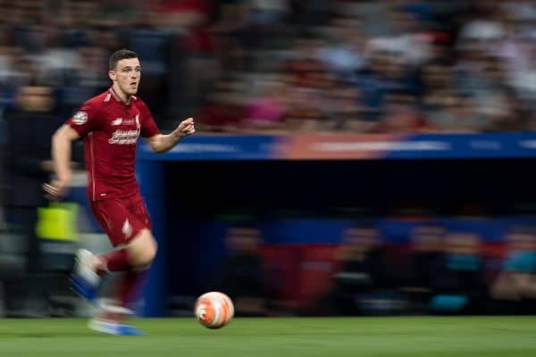 MADRID, SPAIN - SATURDAY, JUNE 1, 2019: Liverpool's Andy Robertson during the UEFA Champions League Final match between Tottenham Hotspur FC and Liverpool FC at the Estadio Metropolitano. (Pic by Paul Greenwood/Propaganda)