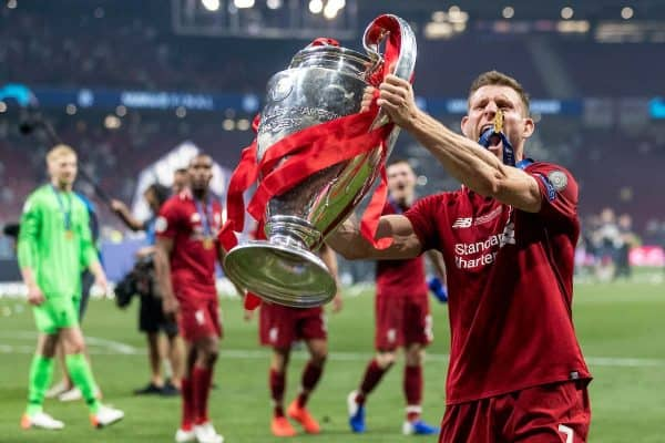 MADRID, SPAIN - SATURDAY, JUNE 1, 2019: Liverpool's James Milner celebrates with the European Cup after a 2-0 victory in the UEFA Champions League Final match between Tottenham Hotspur FC and Liverpool FC at the Estadio Metropolitano. (Pic by Paul Greenwood/Propaganda)