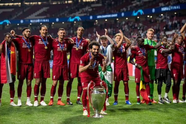 MADRID, SPAIN - SATURDAY, JUNE 1, 2019: Liverpool's Mohamed Salah celebrates with the European Cup after a 2-0 victory in the UEFA Champions League Final match between Tottenham Hotspur FC and Liverpool FC at the Estadio Metropolitano. (Pic by Paul Greenwood/Propaganda)