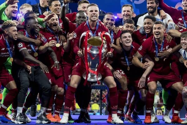Liverpool's captain Jordan Henderson lifts the European Cup following a 2-0 victory in the UEFA Champions League Final match between Tottenham Hotspur FC and Liverpool FC at the Estadio Metropolitano. (Pic by Paul Greenwood/Propaganda)