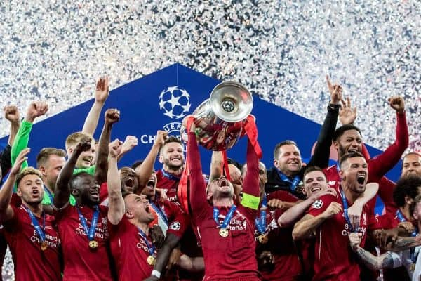 MADRID, SPAIN - SATURDAY, JUNE 1, 2019: Liverpool's captain Jordan Henderson lifts the European Cup following a 2-0 victory in the UEFA Champions League Final match between Tottenham Hotspur FC and Liverpool FC at the Estadio Metropolitano. (Pic by Paul Greenwood/Propaganda)