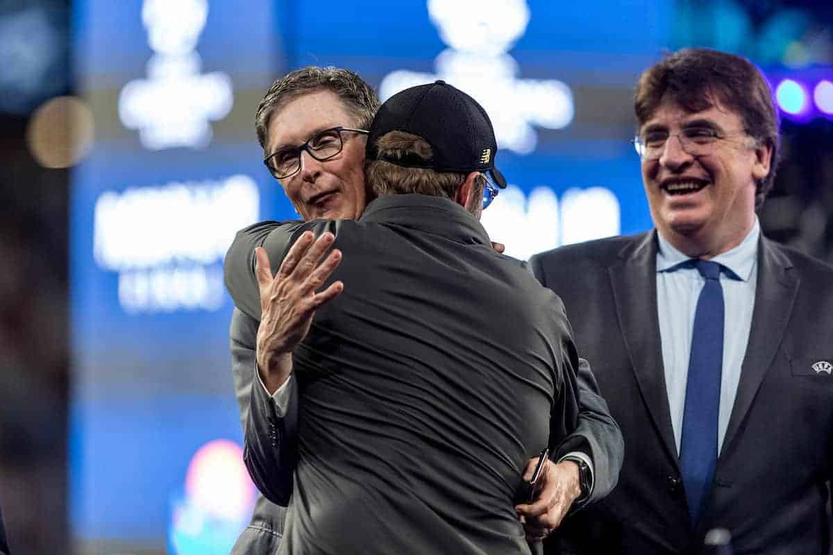 MADRID, SPAIN - SATURDAY, JUNE 1, 2019: Liverpool's manager Jürgen Klopp is embraced by owner John W Henry following a 2-0 victory in the UEFA Champions League Final match between Tottenham Hotspur FC and Liverpool FC at the Estadio Metropolitano. (Pic by Paul Greenwood/Propaganda)