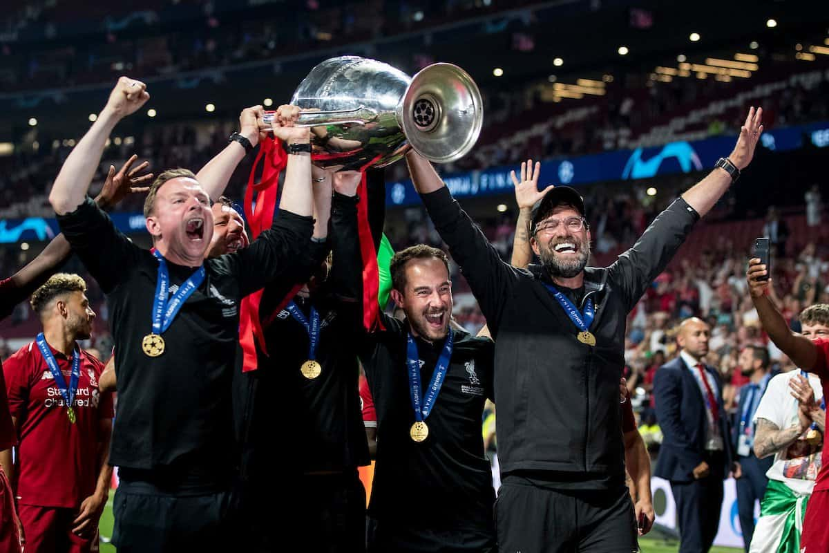 MADRID, SPAIN - SATURDAY, JUNE 1, 2019: Liverpool's manager Jürgen Klopp and his back room staff celebrate as they lift the European Cup following a 2-0 victory in the UEFA Champions League Final match between Tottenham Hotspur FC and Liverpool FC at the Estadio Metropolitano. (Pic by Paul Greenwood/Propaganda) Pepijn Lijnders