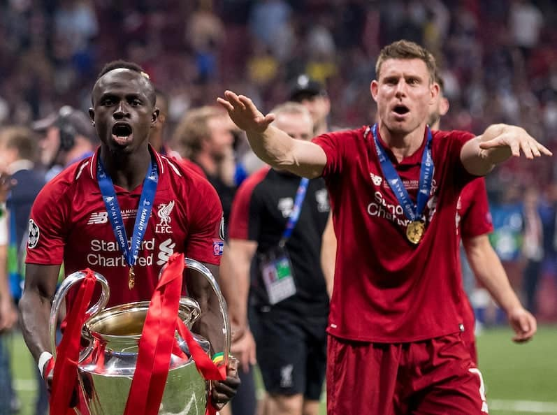MADRID, SPAIN - SATURDAY, JUNE 1, 2019: Liverpool's Sadio Mane celebrates with the European Cup following a 2-0 victory in the UEFA Champions League Final match between Tottenham Hotspur FC and Liverpool FC at the Estadio Metropolitano. (Pic by Paul Greenwood/Propaganda) James Milner