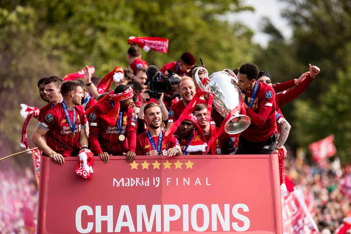 LIVERPOOL, ENGLAND - Sunday, June 2, 2019: Liverpool's Trent Alexander-Arnold kisses the trophy during an open-top bus parade through the city after winning the UEFA Champions League Final. Liverpool beat Tottenham Hotspur. 2-0 in Madrid. To claim their sixth European Cup. (Pic by Paul Greenwood/Propaganda)