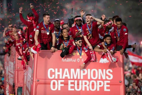 LIVERPOOL, ENGLAND - Sunday, June 2, 2019: Liverpool's James Milner, Georginio Wijnaldum, Virgil van Dijk, Adam Lallana, Andy Robertson, Divock Origi, Joe Gomez, Trent Alexander-Arnold during an open-top bus parade through the city after winning the UEFA Champions League Final. Liverpool beat Tottenham Hotspur. 2-0 in Madrid. To claim their sixth European Cup. (Pic by Paul Greenwood/Propaganda)