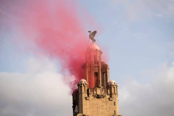 LIVERPOOL, ENGLAND - Sunday, June 2, 2019: Red smoke from the Liver Building during an open-top bus parade through the city after winning the UEFA Champions League Final. Liverpool beat Tottenham Hotspur. 2-0 in Madrid. To claim their sixth European Cup. (Pic by Paul Greenwood/Propaganda)