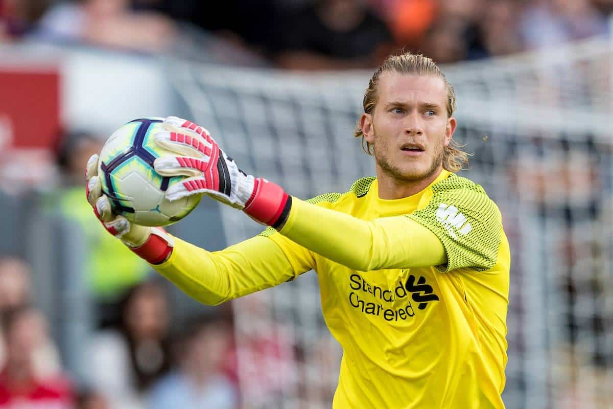 BLACKBURN, ENGLAND - Thursday, July 19, 2018: Liverpool's goalkeeper Loris Karius during a preseason friendly match between Blackburn Rovers FC and Liverpool FC at Ewood Park. (Pic by Paul Greenwood/Propaganda)