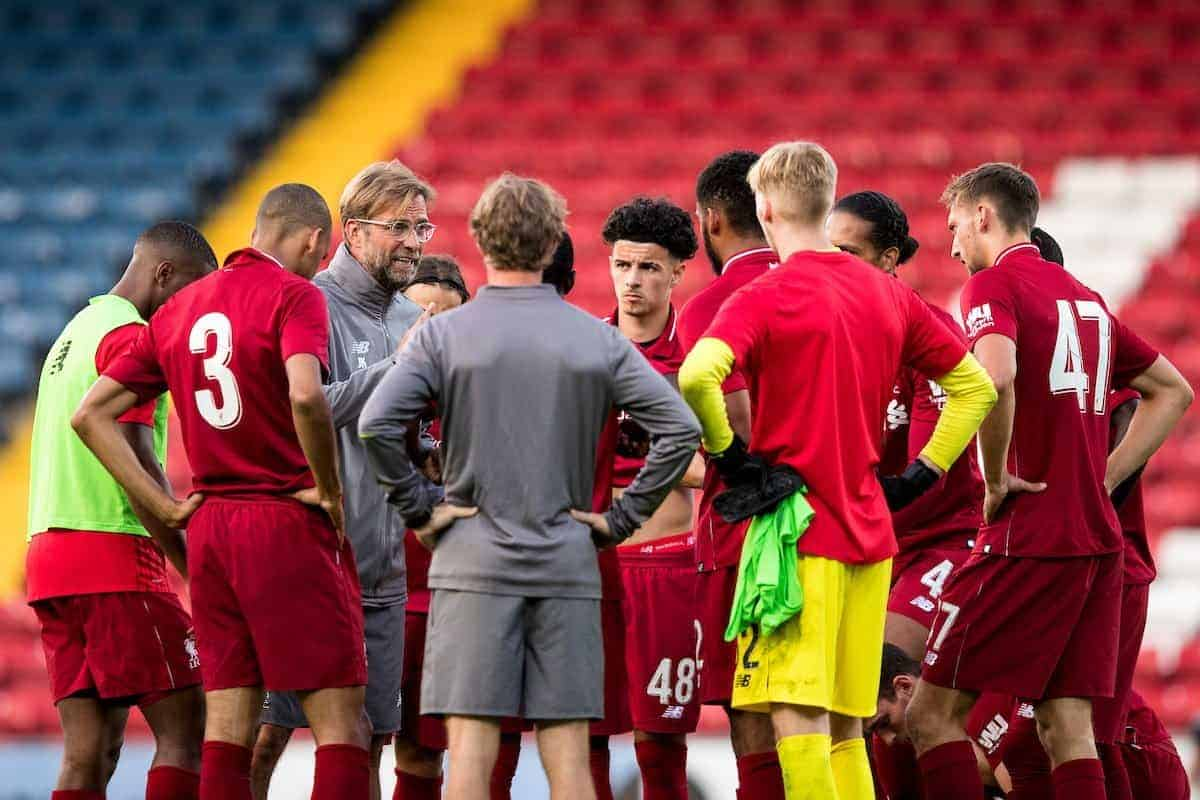 BLACKBURN, ENGLAND - Thursday, July 19, 2018: Liverpool's manager Jürgen Klopp speaks to second half substitutes at half half time during a preseason friendly match between Blackburn Rovers FC and Liverpool FC at Ewood Park. (Pic by Paul Greenwood/Propaganda)