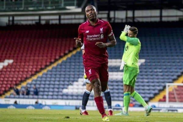 BLACKBURN, ENGLAND - Thursday, July 19, 2018: Liverpool's Daniel Sturridge celebrates scoring the second goal during a preseason friendly match between Blackburn Rovers FC and Liverpool FC at Ewood Park. (Pic by Paul Greenwood/Propaganda)