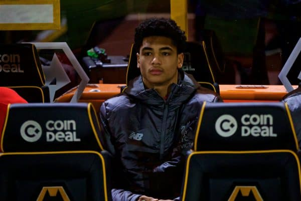 WOLVERHAMPTON, ENGLAND - Monday, January 7, 2019: Liverpool's substitute Ki-Jana Hoever on the bench before the FA Cup 3rd Round match between Wolverhampton Wanderers FC and Liverpool FC at Molineux Stadium. (Pic by David Rawcliffe/Propaganda)
