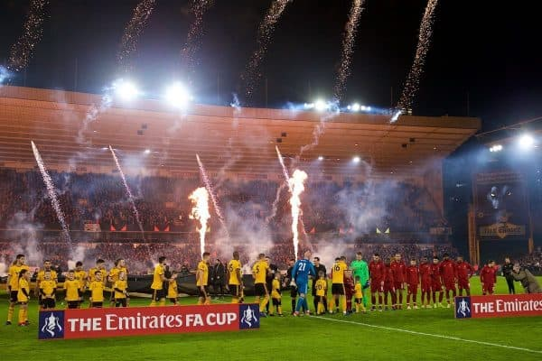 WOLVERHAMPTON, ENGLAND - Monday, January 7, 2019: Fireworks are set off as Wolverhampton Wanderers and Liverpool players shake hands before the FA Cup 3rd Round match between Wolverhampton Wanderers FC and Liverpool FC at Molineux Stadium. (Pic by David Rawcliffe/Propaganda)