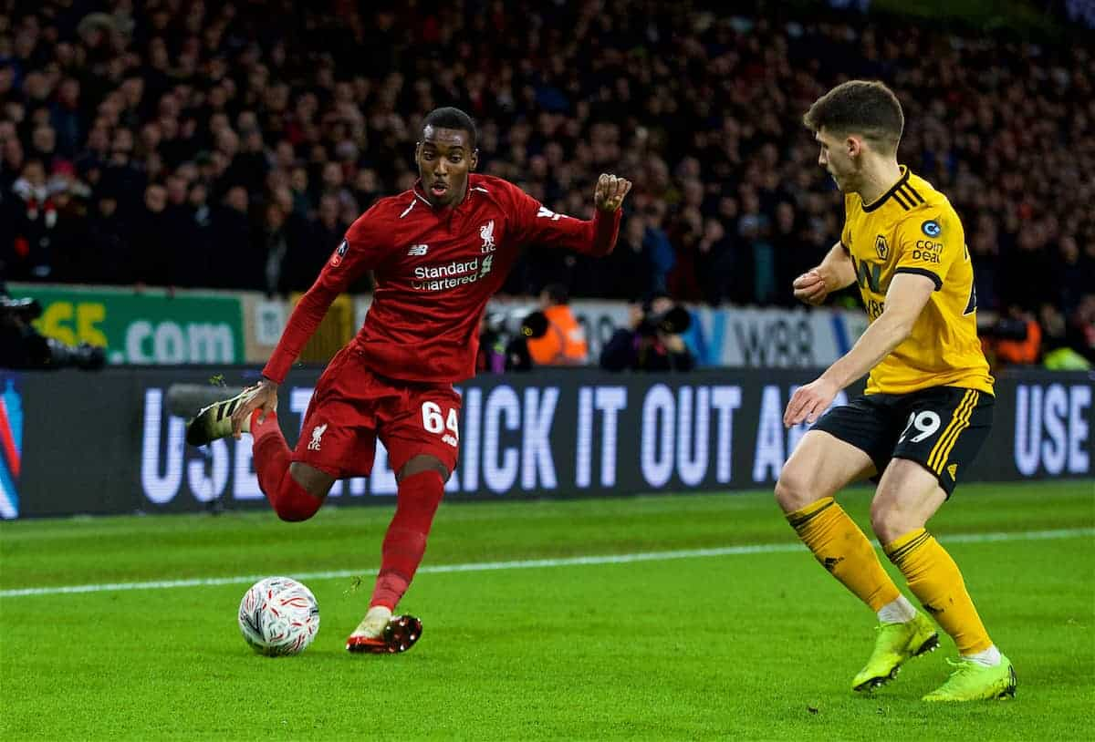 WOLVERHAMPTON, ENGLAND - Monday, January 7, 2019: Liverpool's Rafael Camacho takes on Wolverhampton Wanderers' Rúben Vinagre during the FA Cup 3rd Round match between Wolverhampton Wanderers FC and Liverpool FC at Molineux Stadium. (Pic by David Rawcliffe/Propaganda)
