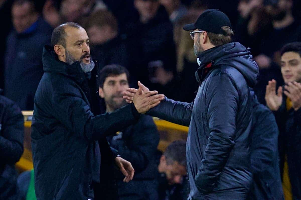 WOLVERHAMPTON, ENGLAND - Monday, January 7, 2019: Liverpool's manager Jürgen Klopp (R) shakes hands with Wolverhampton Wanderers' head coach Nuno Espírito Santo after the FA Cup 3rd Round match between Wolverhampton Wanderers FC and Liverpool FC at Molineux Stadium. Wolverhampton Wanderers won 2-1. (Pic by David Rawcliffe/Propaganda)