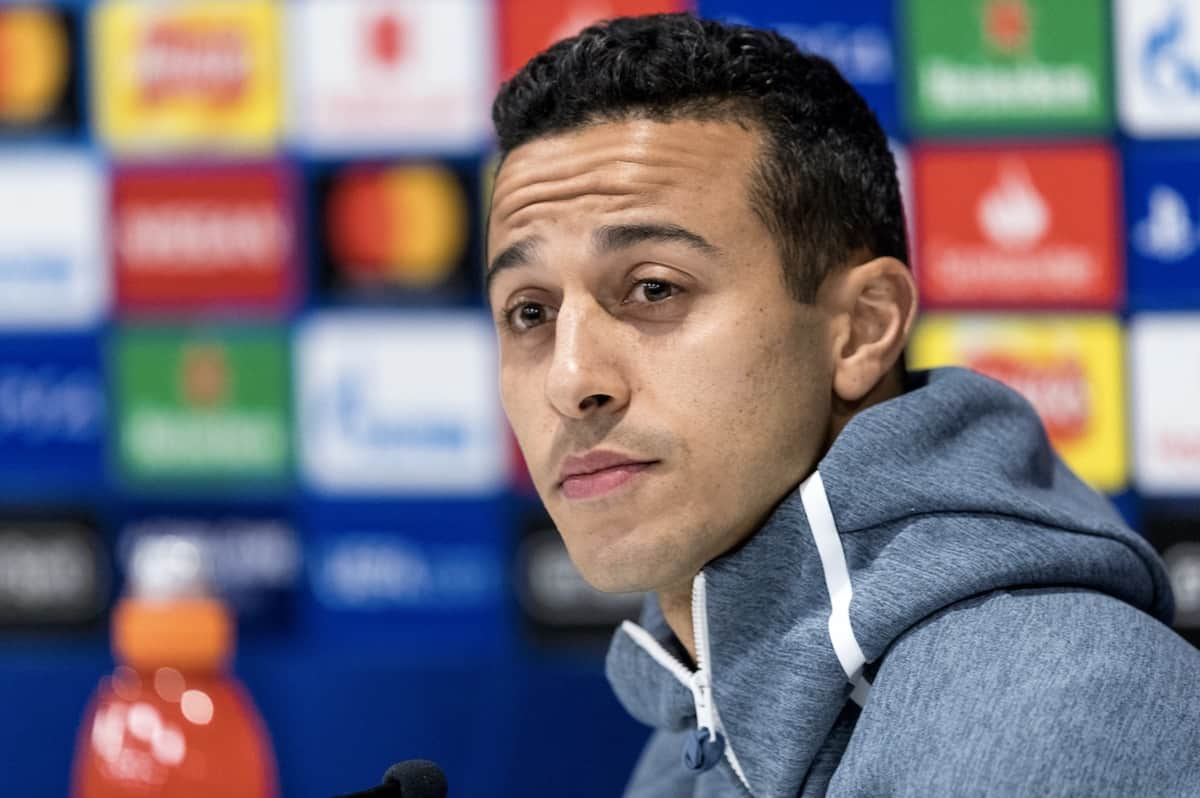 LIVERPOOL, ENGLAND - Monday, February 18, 2019: FC Bayern München's Thiago Alcántara during a press conference at Anfield ahead of the UEFA Champions League Round of 16 1st Leg match between Liverpool FC and FC Bayern München. (Pic by Paul Greenwood/Propaganda)