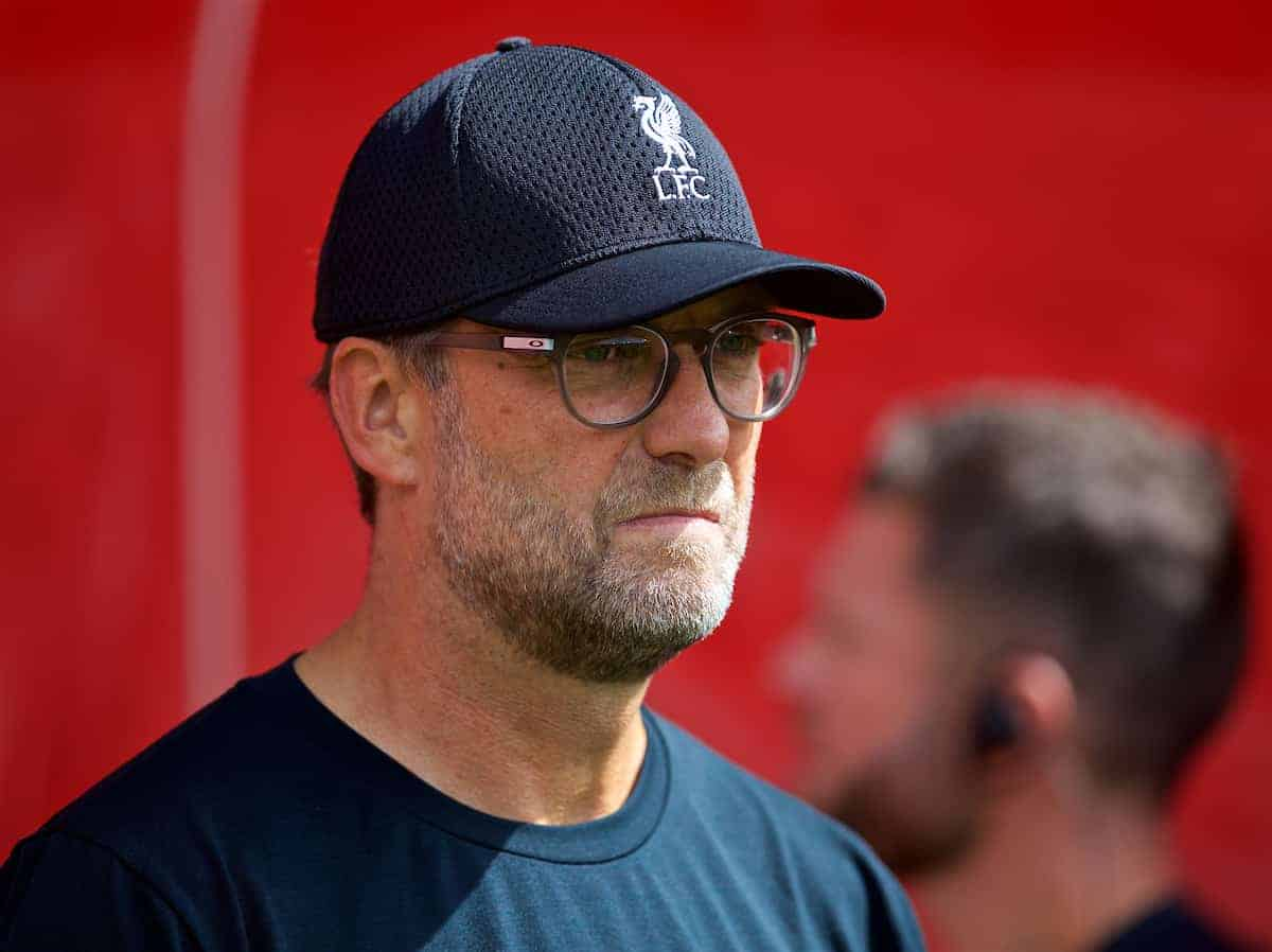 LIVERPOOL, ENGLAND - Saturday, August 17, 2019: Liverpool's manager Jürgen Klopp before the FA Premier League match between Southampton FC and Liverpool FC at St. Mary's Stadium. (Pic by David Rawcliffe/Propaganda)