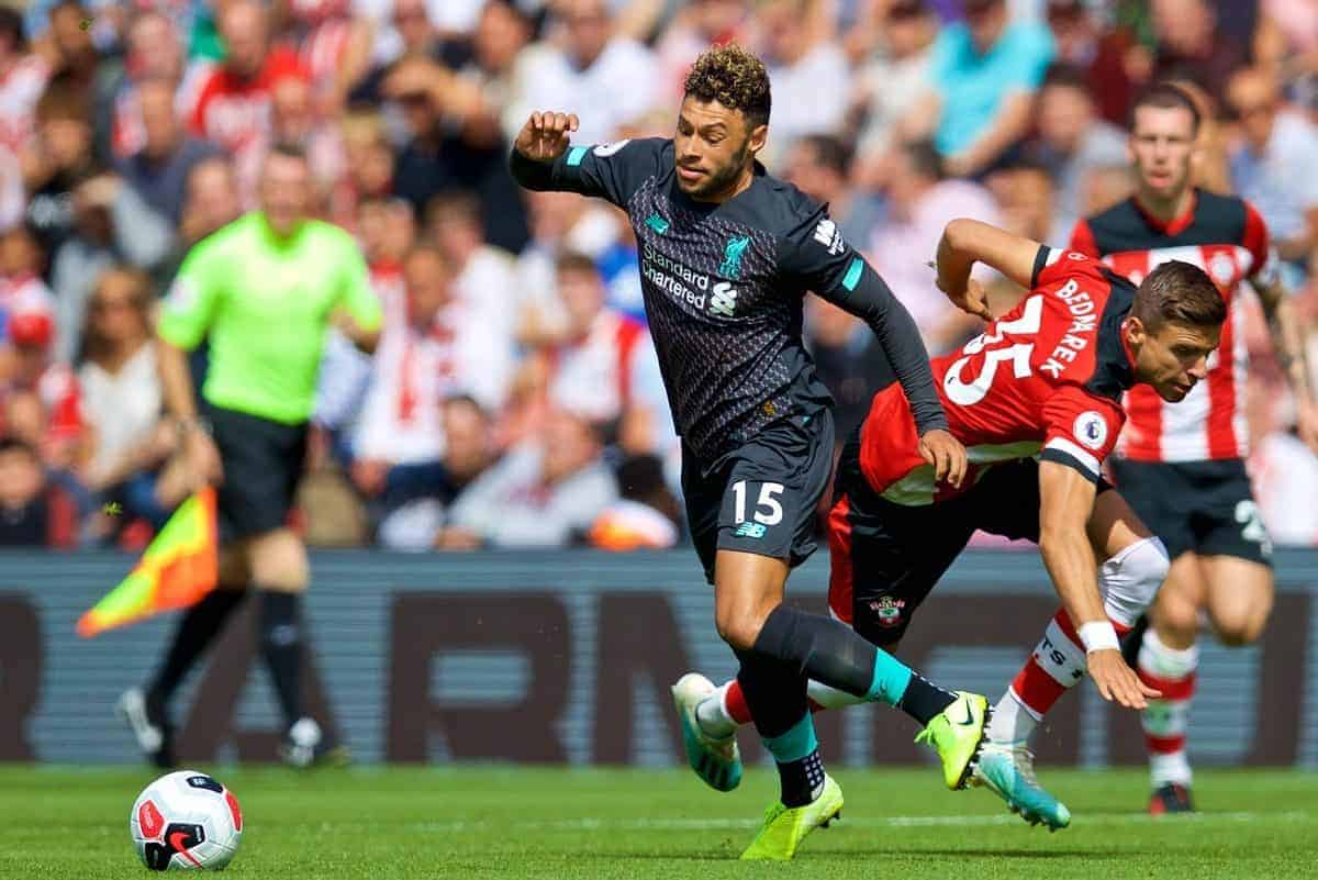 Liverpool's Alex Oxlade-Chamberlain (L) and Southampton's Jan Bednarek (R) during the FA Premier League match between Southampton FC and Liverpool FC at St. Mary's Stadium. (Pic by David Rawcliffe/Propaganda)