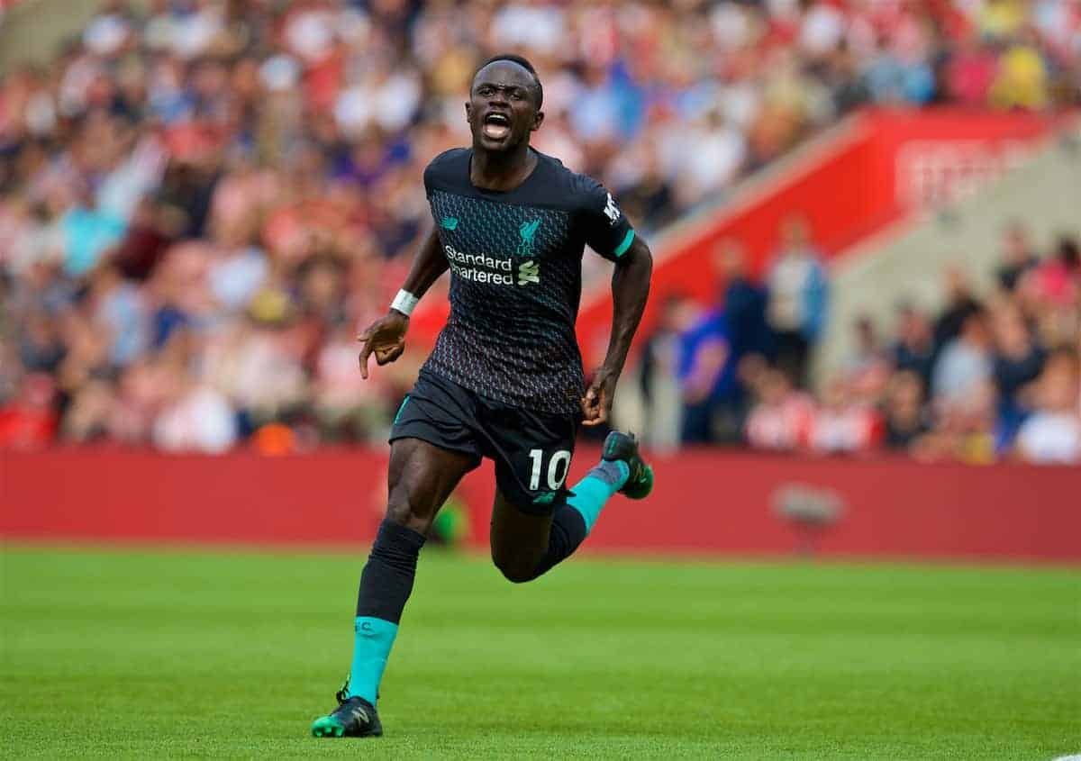 LIVERPOOL, ENGLAND - Saturday, August 17, 2019: Liverpool's Sadio Mane celebrates scoring the first goal during the FA Premier League match between Southampton FC and Liverpool FC at St. Mary's Stadium. (Pic by David Rawcliffe/Propaganda)