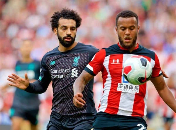 LIVERPOOL, ENGLAND - Saturday, August 17, 2019: Liverpool's Mohamed Salah (L) and Southampton's Ryan Bertrand during the FA Premier League match between Southampton FC and Liverpool FC at St. Mary's Stadium. (Pic by David Rawcliffe/Propaganda)