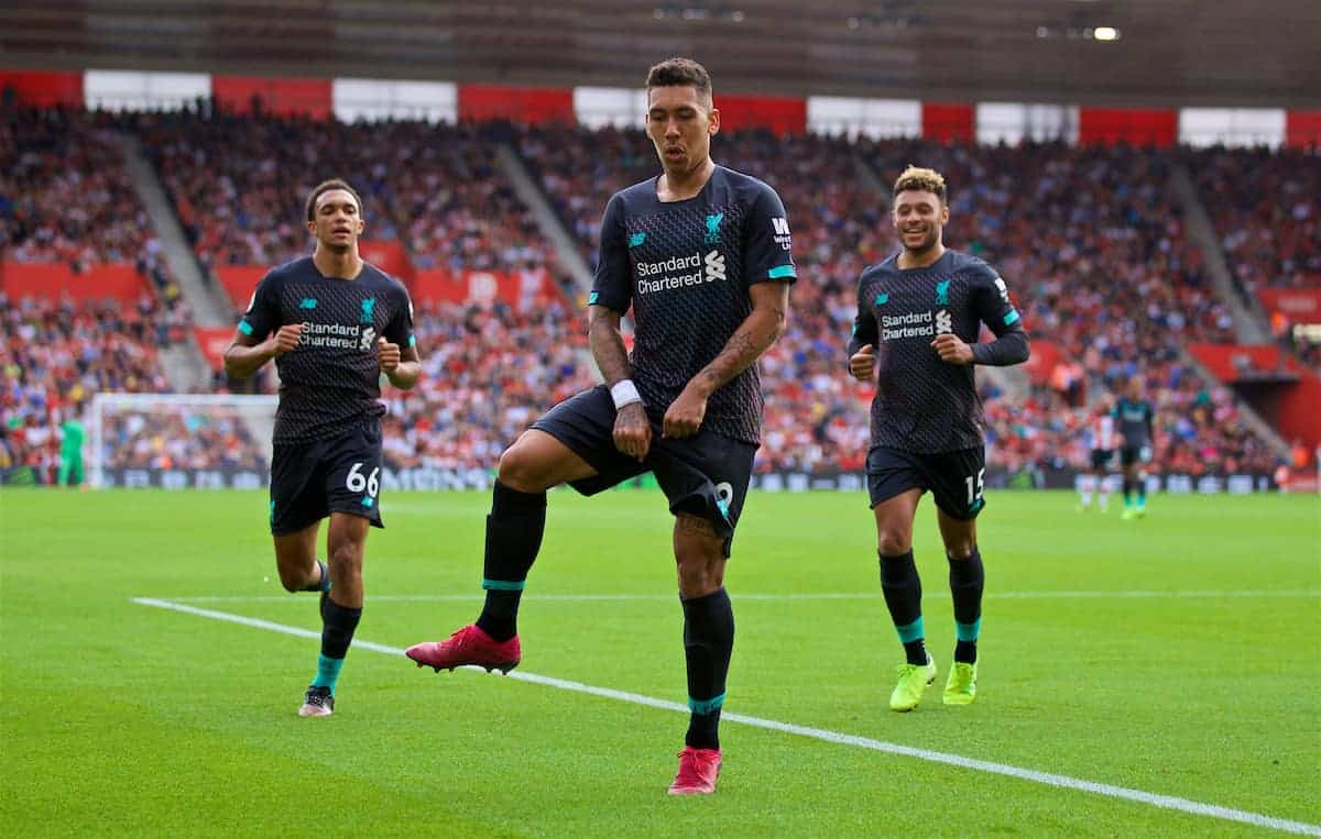 LIVERPOOL, ENGLAND - Saturday, August 17, 2019: Liverpool's Roberto Firmino celebrates scoring the second goal during the FA Premier League match between Southampton FC and Liverpool FC at St. Mary's Stadium. (Pic by David Rawcliffe/Propaganda)