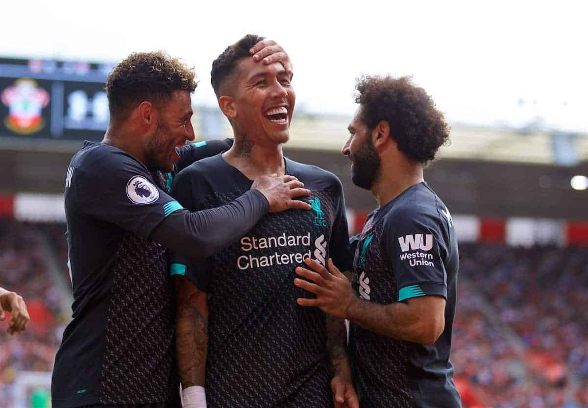 LIVERPOOL, ENGLAND - Saturday, August 17, 2019: Liverpool's Roberto Firmino (C) celebrates scoring the second goal with team-mates Alex Oxlade-Chamberlain (L) and Mohamed Salah (R) during the FA Premier League match between Southampton FC and Liverpool FC at St. Mary's Stadium. (Pic by David Rawcliffe/Propaganda)