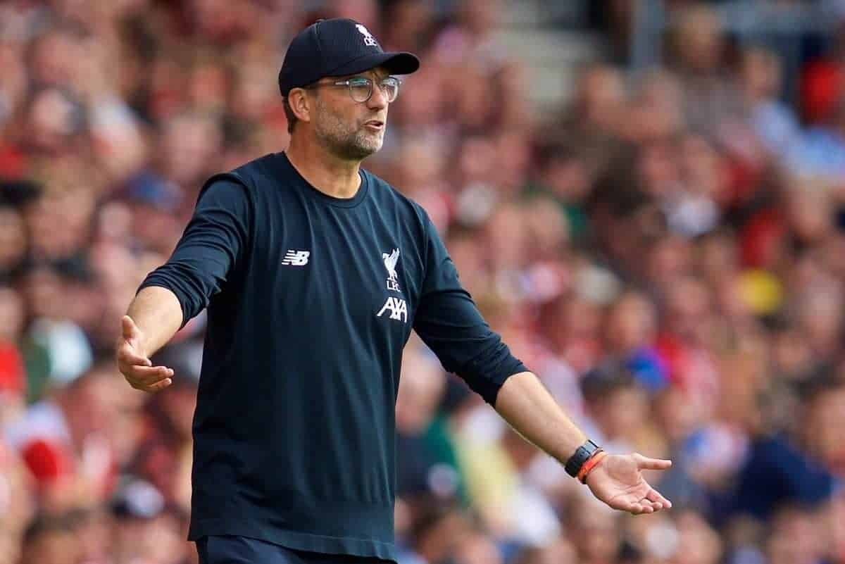 LIVERPOOL, ENGLAND - Saturday, August 17, 2019: Liverpool's manager Jürgen Klopp reacts during the FA Premier League match between Southampton FC and Liverpool FC at St. Mary's Stadium. (Pic by David Rawcliffe/Propaganda)