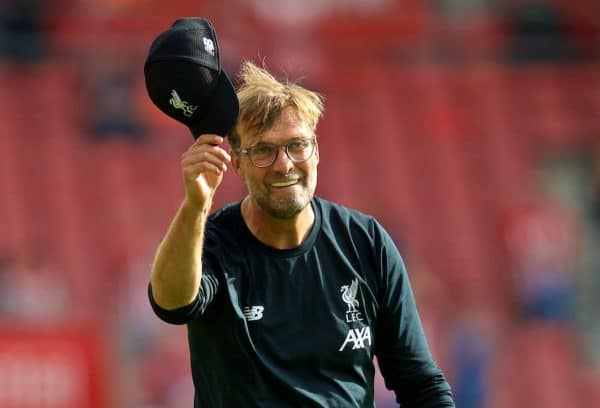 LIVERPOOL, ENGLAND - Saturday, August 17, 2019: Liverpool's manager Jürgen Klopp celebrates at the final whistle after the FA Premier League match between Southampton FC and Liverpool FC at St. Mary's Stadium. Liverpool won 2-1. (Pic by David Rawcliffe/Propaganda)