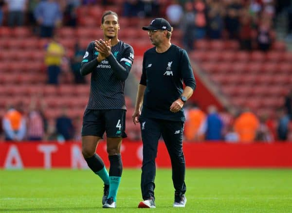 LIVERPOOL, ENGLAND - Saturday, August 17, 2019: Liverpool's manager Jürgen Klopp (R) celebrates at the final whistle with Virgil van Dijk after the FA Premier League match between Southampton FC and Liverpool FC at St. Mary's Stadium. Liverpool won 2-1. (Pic by David Rawcliffe/Propaganda)