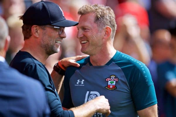 LIVERPOOL, ENGLAND - Saturday, August 17, 2019: Liverpool's manager Jürgen Klopp and Southampton's manager Ralph Hasenhüttl before the FA Premier League match between Southampton FC and Liverpool FC at St. Mary's Stadium. (Pic by David Rawcliffe/Propaganda)