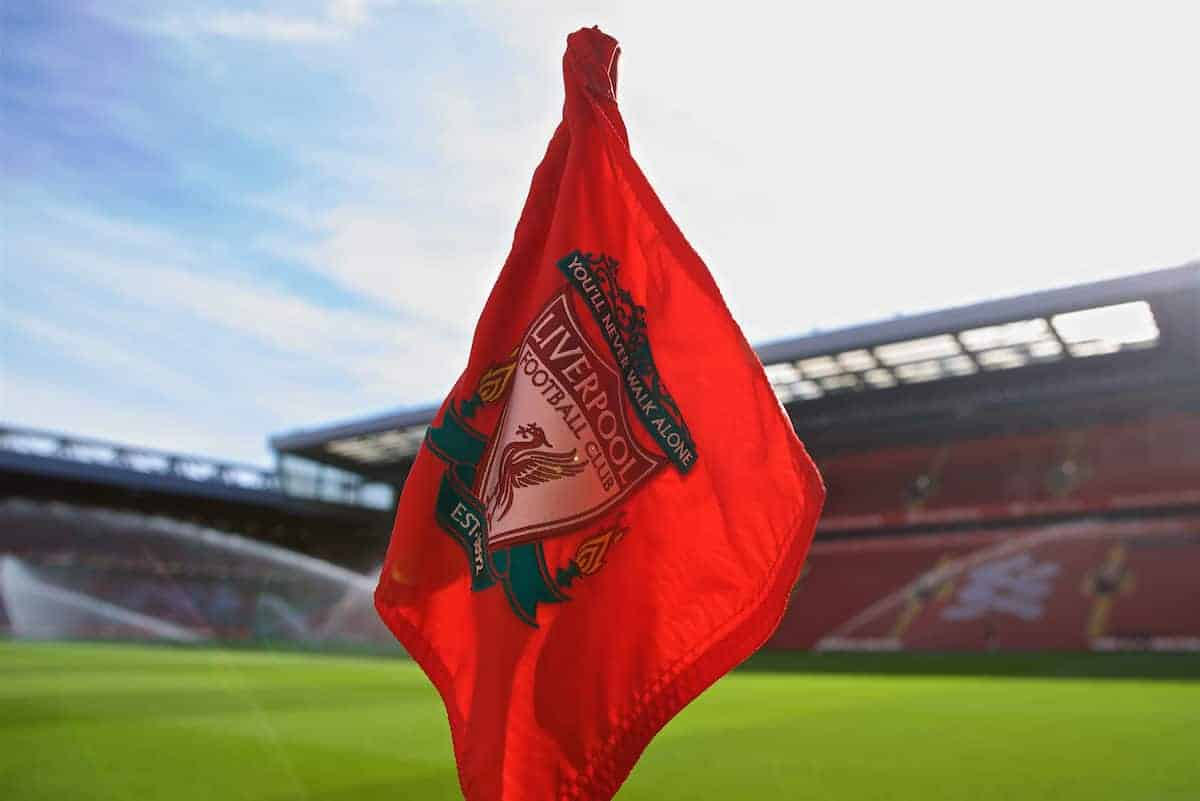 LIVERPOOL, ENGLAND - Saturday, September 14, 2019: A Liverpool crest on a corner flag pictured before the FA Premier League match between Liverpool FC and Newcastle United FC at Anfield. (Pic by David Rawcliffe/Propaganda)