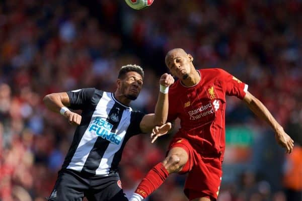 LIVERPOOL, ENGLAND - Saturday, September 14, 2019:Newcastle United's Salomón Rondón (R) challenges Liverpool's Fabio Henrique Tavares 'Fabinho' during the FA Premier League match between Liverpool FC and Newcastle United FC at Anfield. (Pic by David Rawcliffe/Propaganda)