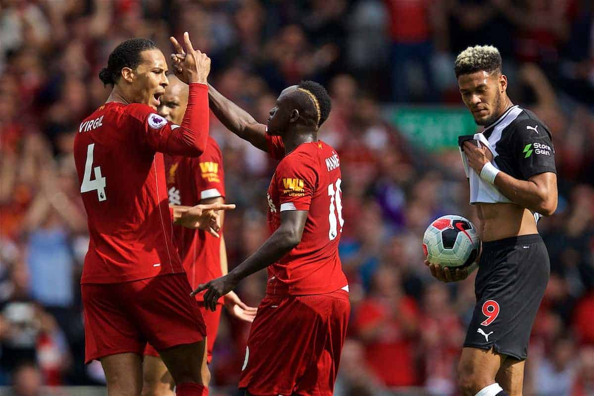 LIVERPOOL, ENGLAND - Saturday, September 14, 2019: Liverpool's Sadio Mane celebrates scoring the first equalising goal with team-mate Virgil van Dijk (L) during the FA Premier League match between Liverpool FC and Newcastle United FC at Anfield. (Pic by David Rawcliffe/Propaganda)